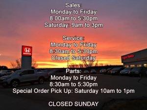 Business Hours Regier Honda